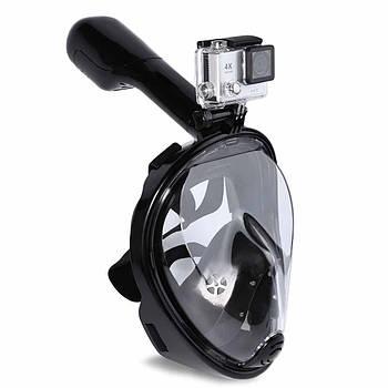 Дитячі полнолицевые окуляри для плавання FREE BREATH (XS) M2068G з кріпленням для камери Рожевий Чорний