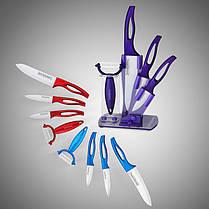 Набір з 4 керамічних ножів, овощечистка на підставці, фото 3