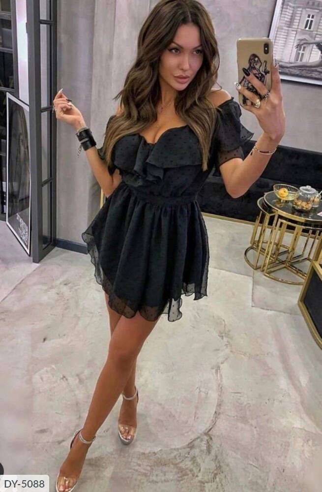 Женское шифоновое платье горох