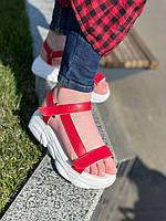 Босоніжки на платформі натуральна шкіра , червоні, фото 1