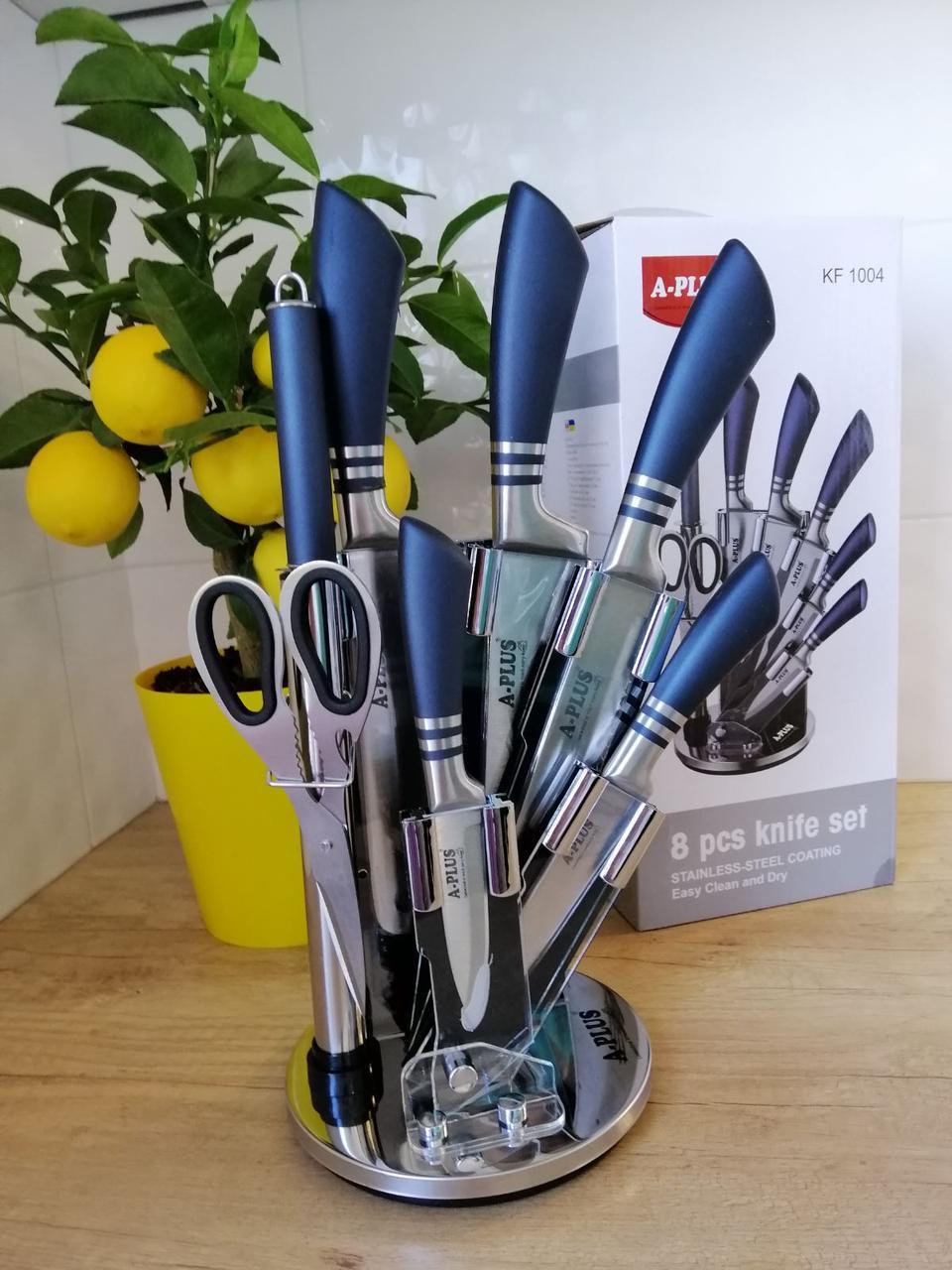 Набор ножей А-Плюс 8 предметов с вращающейся подставкой