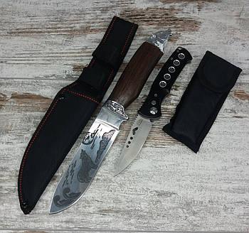 Мисливський ніж ВОВК COLUNBIA 28,5 СМ / Н-931 в комплекті з універсальним викидним ножем D-888 / 20 см1