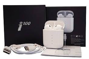 Бездротові стерео навушники TWS i100 сенсорне управління з розумним боксом, фото 2