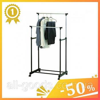 Напольная стойка для одежды Передвижная двойная вешалка Double Pole на колёсах Регулируемая вешалка-стойка1