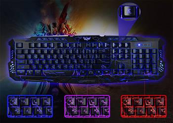 Комп'ютерна ігрова клавіатура з 3-х кольоровий підсвічуванням M-200