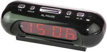 Настільний годинник VST 716 від мережі 220 В (червоні цифри)