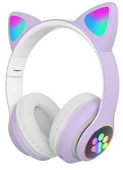 Бездротові навушники з котячими вушками і RGB підсвіткою Cat VZV-23M Purple (95607)