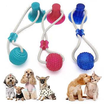 Багатофункціональна іграшка для собак канат на присосці з м'ячем