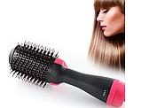 ОПТ Фен щітка One Step Hair Dryer & Styler Стайлер для укладання волосся 3в1 Гребінець з феном чорна, фото 3