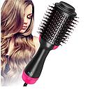 ОПТ Фен щітка One Step Hair Dryer & Styler Стайлер для укладання волосся 3в1 Гребінець з феном чорна, фото 4