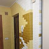 Декоративная 3D панель стеновая самоклеющаяся под кирпич ЖЕЛТО-ПЕСОЧНЫЙ 700х770х7мм (в упаковке 10 шт), фото 2