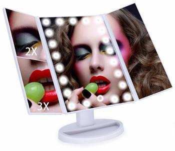 Косметичне дзеркало настільне з LED підсвічуванням трьохстулкове