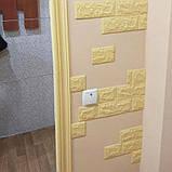 Декоративная 3D панель стеновая самоклеющаяся под кирпич ЖЕЛТО-ПЕСОЧНЫЙ 700х770х7мм (в упаковке 10 шт), фото 3