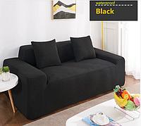 Натяжні універсальні чохли, накидки знімні на диван і 2 крісла водовідштовхувальні Homytex Чорний, фото 1
