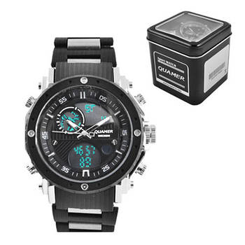Годинники наручні QUAMER 1801-Box, браслет під карбон, dual time з подарунковою коробкою