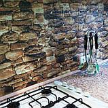 Декоративная 3D панель стеновая самоклеющаяся под кирпич, под КОРИЧНЕВЫЙ КАМЕНЬ 700х770х5мм, фото 2
