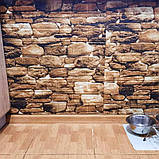 Декоративная 3D панель стеновая самоклеющаяся под кирпич, под КОРИЧНЕВЫЙ КАМЕНЬ 700х770х5мм, фото 3