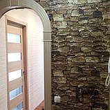Декоративная 3D панель стеновая самоклеющаяся под кирпич, под КОРИЧНЕВЫЙ КАМЕНЬ 700х770х5мм, фото 4