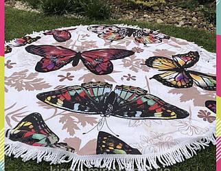 Пляжное махровое полотенце покрывало круг 150х150см Микрофибра (Бабочки)