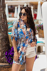 Туника-рубашка принт летняя свободная