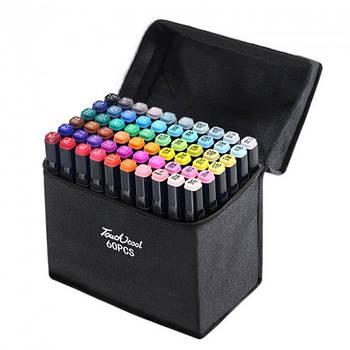 Набір скетч маркерів для малювання Touch Sketch 60 шт двосторонні фломастери чорний корпус