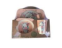 Набор детской посуды 5 предметов из бамбука Бычек