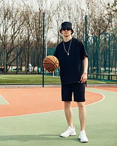 Спортивный Мужской комплект Футболка и Шорты оверсайз черный