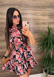 Стильное шелковое платье с цветочным принтом 42-46 р