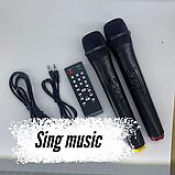 Портативная колонка Bluetooth на аккумуляторе Party box 2 микрофона 1000W широкого спектра использования 1010, фото 4
