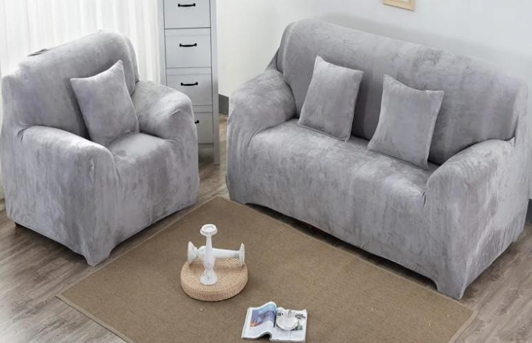 Накидки на диван і крісла натяжні знімні, чохли для дивана і крісла замша мікрофібра Homytex Сірий