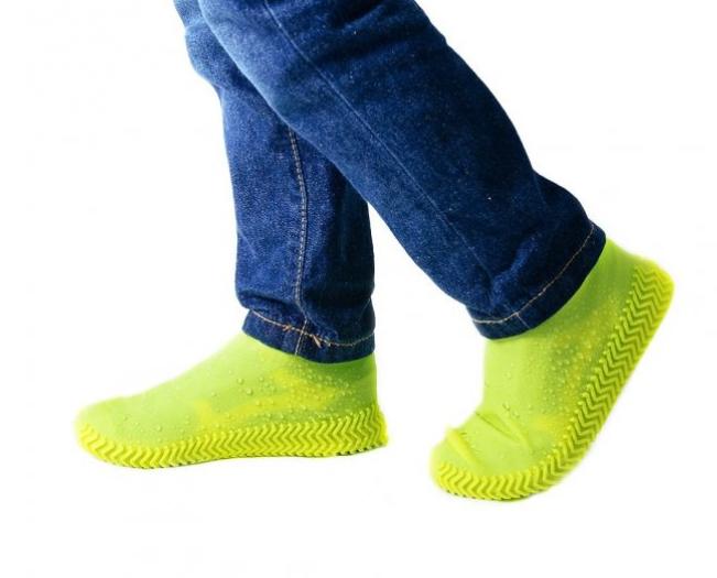Силиконовые чехлы-бахилы для обуви от дождя и грязи, желтые Размер М (KG-2598)