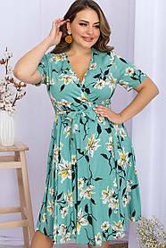 Симпатичное штапельное платье на запах с декольте и вырезом на ноге, больших размеров  XL 2XL 3XL