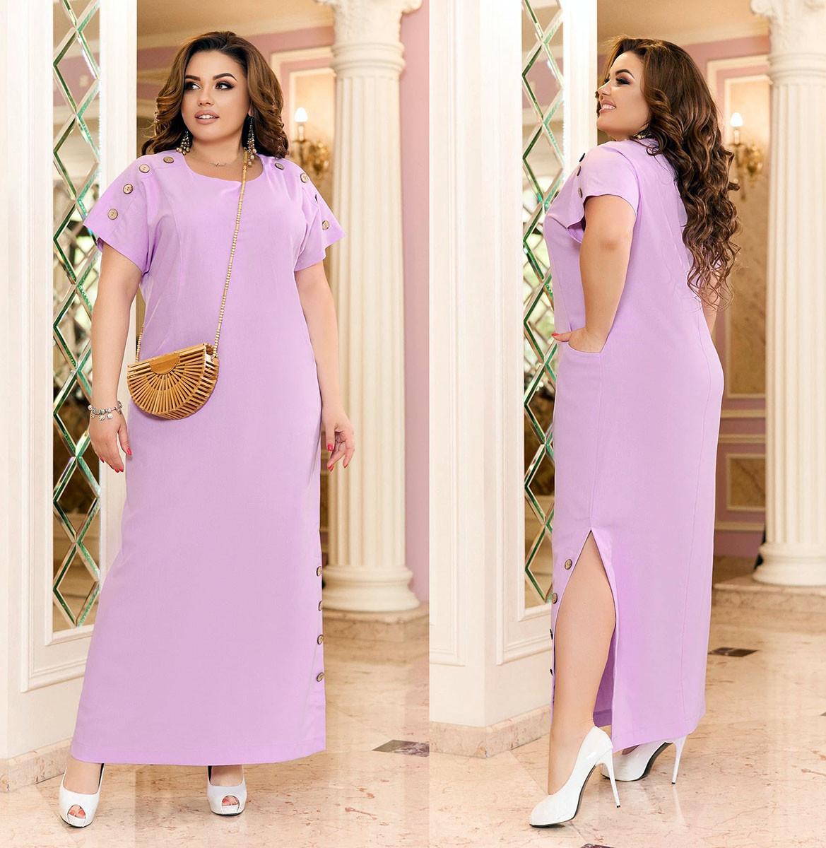 """Літнє жіноче плаття у великих розмірах 351 """"Льон Мкси Розріз Гудзички"""" в кольорах"""