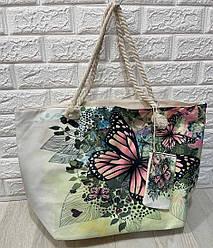 Женская пляжная сумка большая с кошельком летняя Принт Бабочка П-20-54