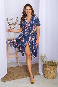Очаровательное синее платье-халат с запАхом из штапеля в крупный цветок, больших размеров  XL 2XL 3XL