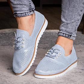 Женские кожаные туфли Fashion Niky 1726 36 размер 23,5 см Голубой