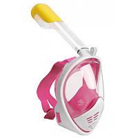 Маска для ныряния полнолицевая Free Breath с трубкой для подводного плавания на все лицо Розовая