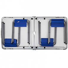 Стол туристический усиленный складной с четырьмя стульями синий, фото 3