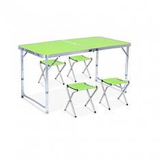 Стол туристический усиленный складной с четырьмя стульями зеленый
