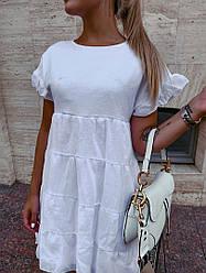 Жіноча коротке літнє біле плаття батист