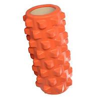Массажный ролик (роллер, валик) для йоги MS 0857-9, 32.5*13.5 см, оранжевый