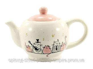Чайник заварочный керамический 980мл Поющие коты Interos  ZFC 047 SC