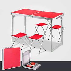 Стіл туристичний посилений складаний з чотирма стільцями червоний