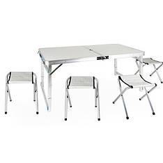 Стол туристический усиленный складной с четырьмя стульями белый