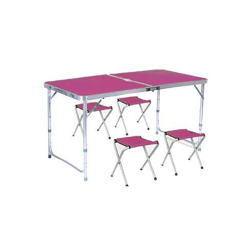 Стіл туристичний посилений складаний з чотирма стільцями рожевий, фото 2