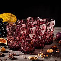 Набор стаканов «Круиз», 350 мл, 8х7х12,5 см, 6 шт, цвет розовый
