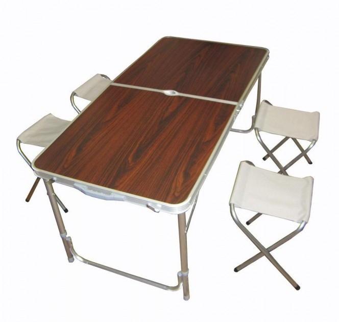Стіл туристичний посилений складаний з чотирма стільцями коричневий
