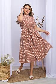 Платье расклешенное софт лето в горошек цвет капучино, большой размер   2XL 3XL 4 XL