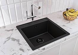 Кухонная мойка гранитная BODRUM 510 (508х495х227) черная (Black) ТМ MIRAGGIO