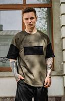 Стильная мужская футболка оверсайз молодежная, цвета хаки